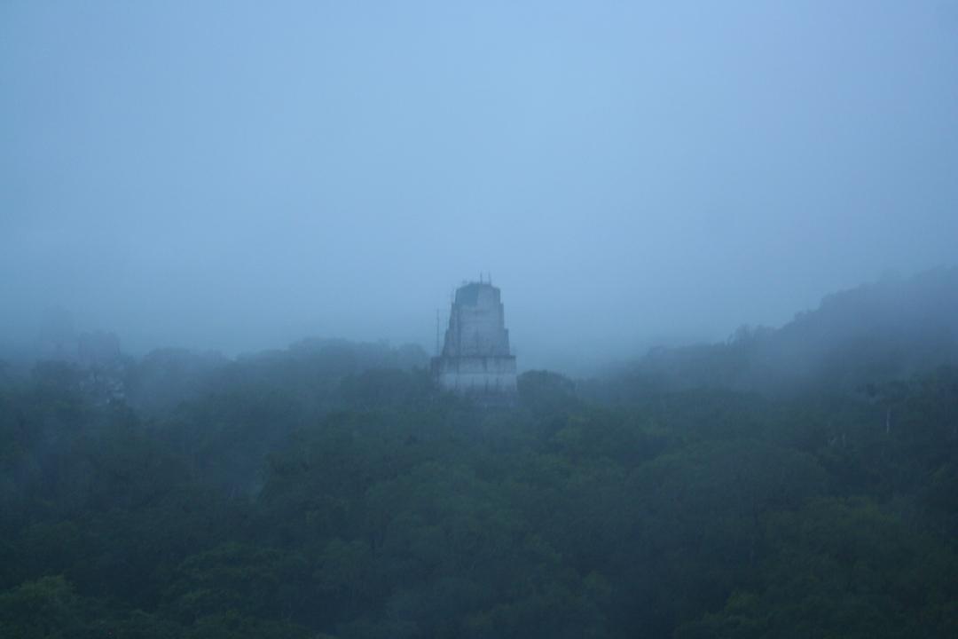 tikal guatemala fog